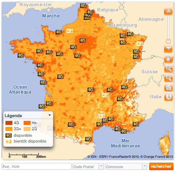 Map Of 4g Coverage France.Christophe Tourret On Twitter Map Of Orange 4g Coverage