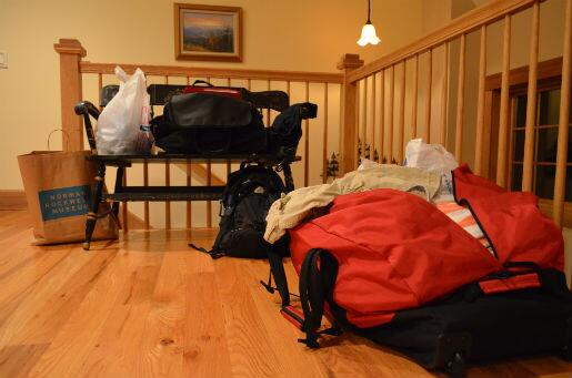 Final stages of packing, less than 36 hours before takeoff