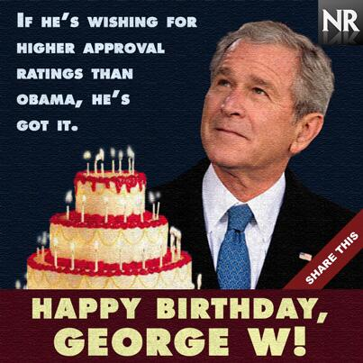 George Bush S Birthday Present Higher Approval Rating