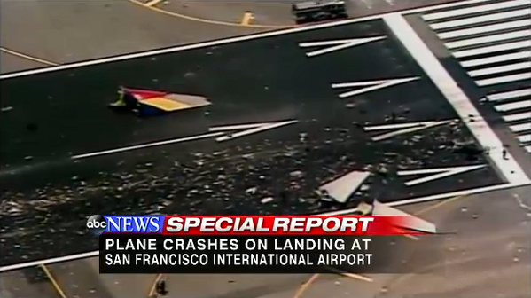 Story: Flight carrying 290 passengers and one infant crashes on runway at SFO abcn.ws/1803KIC pic.twitter.com/H4T88GKFSH