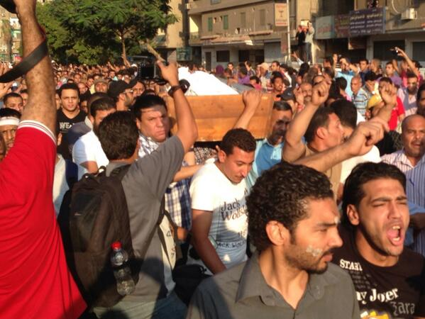 Rest of bodies arrive. Grief and anger is palpable in Manial. #Egypt http://pic.twitter.com/lLbcm312DI