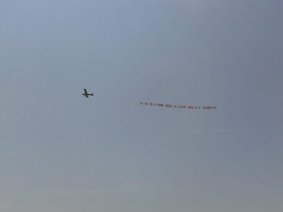 Picture: Lazio fans troll rivals Roma with an aerial advertising stunt over the Italian capital