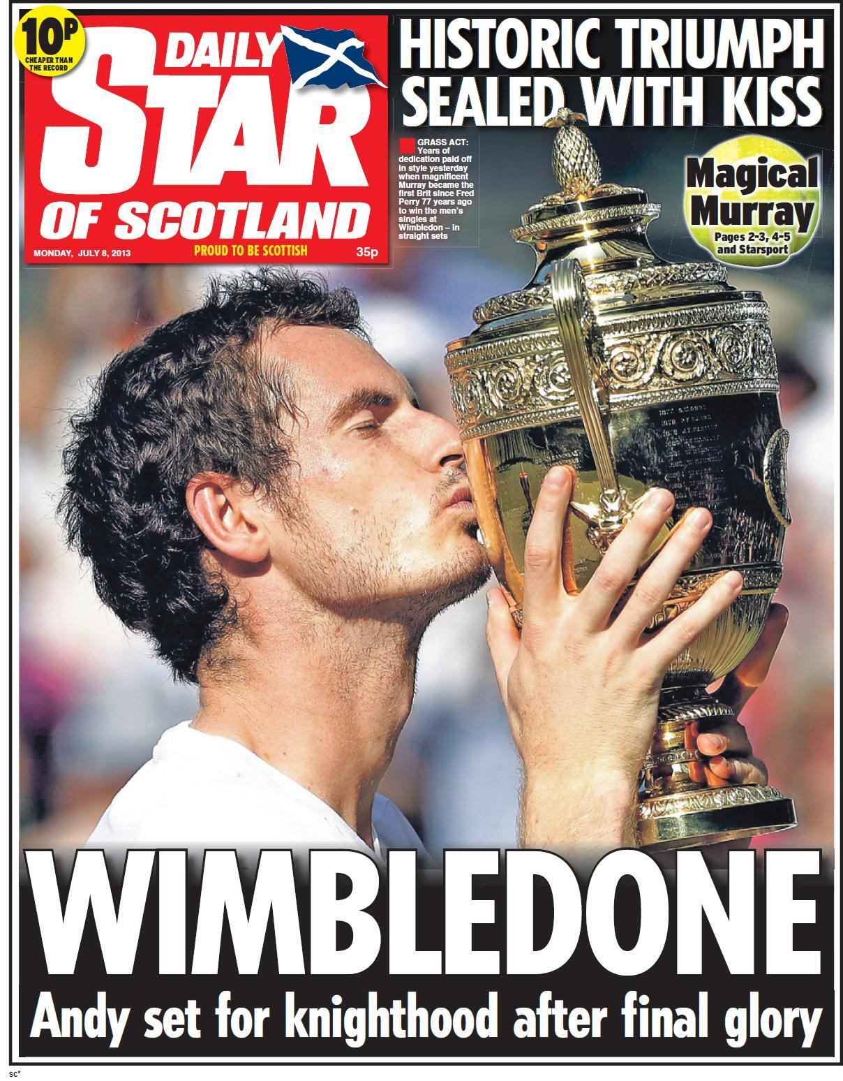 In Pictures: The Monday papers in England rejoice in Andy Murrays Wimbledon success