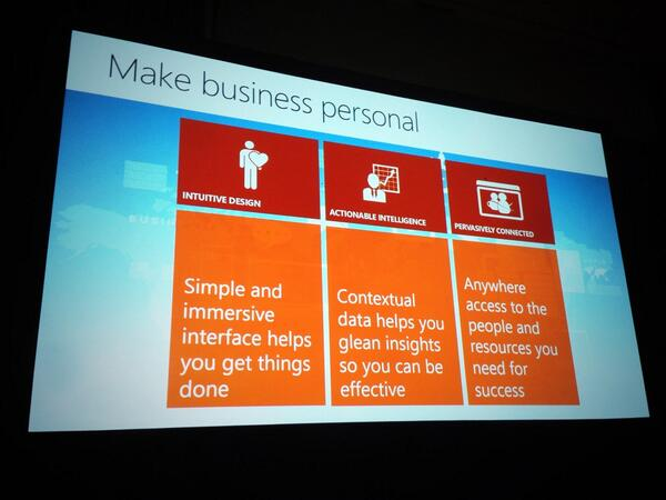 Making business personable via intuitive design, actionable intelligence and pervasively connected #msdyncrm #wpc13 pic.twitter.com/IVJSUpoeY2
