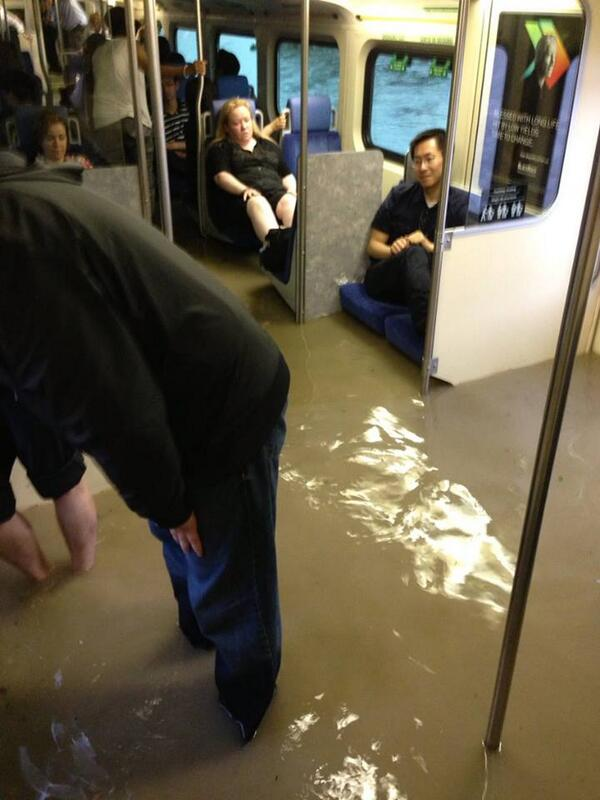 Crazy flooding on @gotransit train richmd hill N-bound (with permission: Danelle Murille) #flood24 #toronto #stormTO pic.twitter.com/9wAS81pXJy