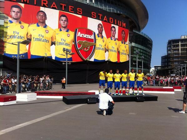 In Pictures: Arsenal unveil their Invincibles inspired away kit at the Emirates