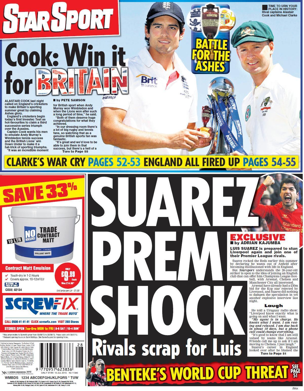 Arsenal, Chelsea & Man City chase Luis Suarez [Star]