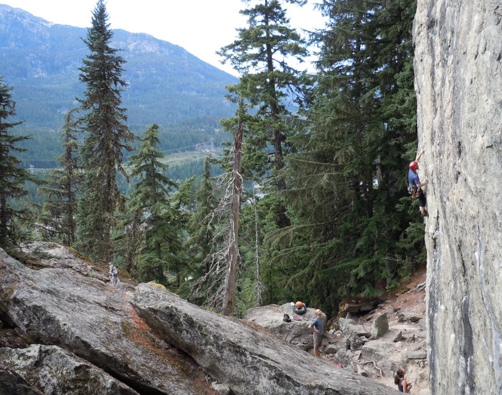Graduate students climbing