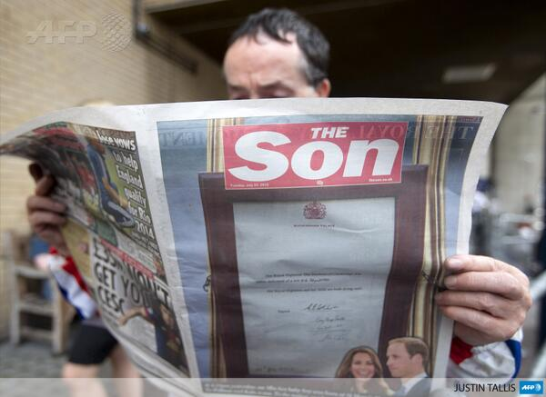 #PHOTO Britain's Sun newspaper had fun with its masthead today to commemorate the birth of the #royalbaby http://pic.twitter.com/wqNMI2O915
