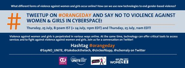 What forms of #violenceagainstwomen & girls occur online? Join #orangeday tweetup,Thu 25/7, 8:30amIST & 11amEDT! pic.twitter.com/3ZCTRcB4BZ