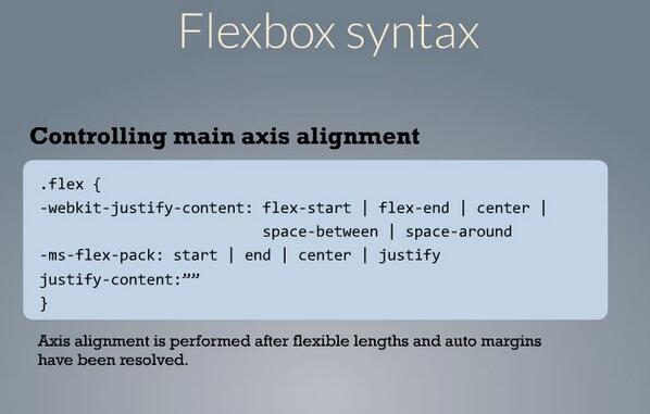 Controlling main axis alignment in CSS Flexbox ~@jameswillweb #CSSSummit pic.twitter.com/1Um9cSyRLI