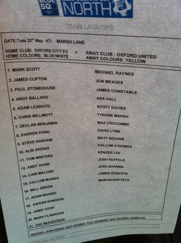 #oufc #ocfc team sheet for tonight pic.twitter.com/qmY73MuppO
