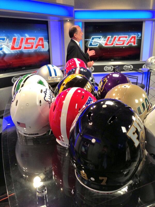 Lots of helmets on the Fox Sports set for @CUSAFB media day pic.twitter.com/BpeBfsl7Xg