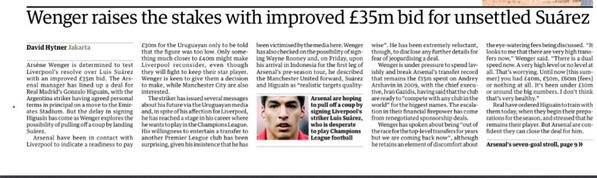 Arsenal up their bid for Liverpool striker Luis Suarez to £35m & confident over Higuain [Guardian]