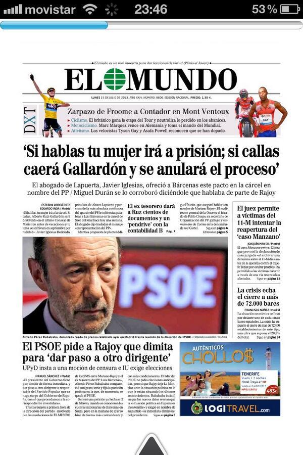Pablo Rodríguez On Twitter Portada De El Mundo De Mañana Si