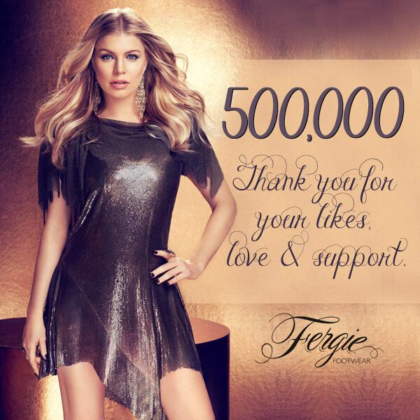 Celebrating 500K #FergieFootwear LIKES on Facebook! Thank u 4 yr support #shoelovers! #FF500K https://t.co/algquMb7Fo http://t.co/aX5YD6A2rC