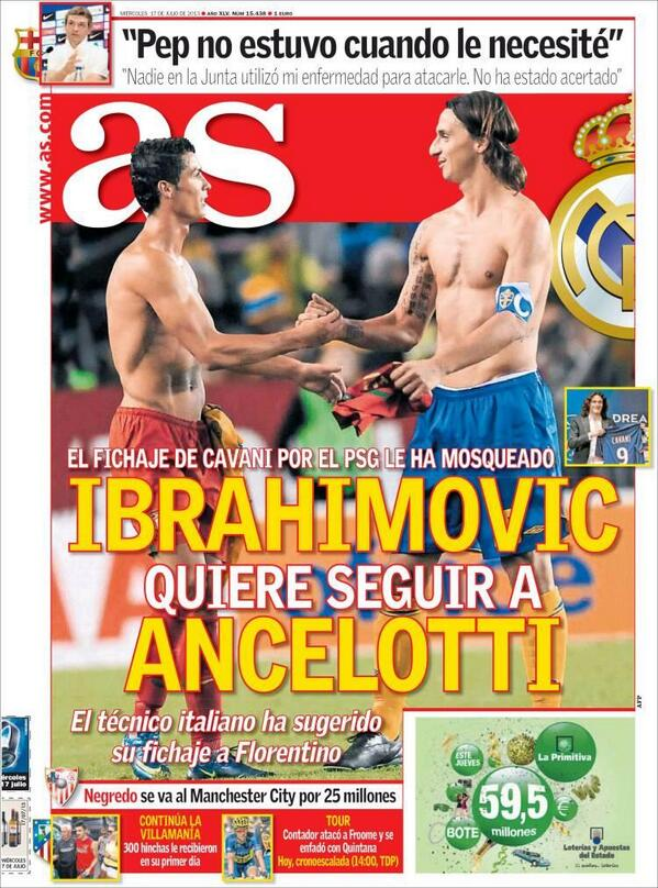 PSG striker Zlatan Ibrahimovic wants to join Carlo Ancelotti at Real Madrid [AS]