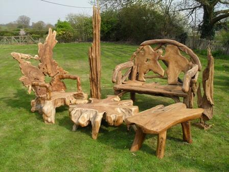 Teak Tree Root Large Bench Hand Crafted Garden Furniture