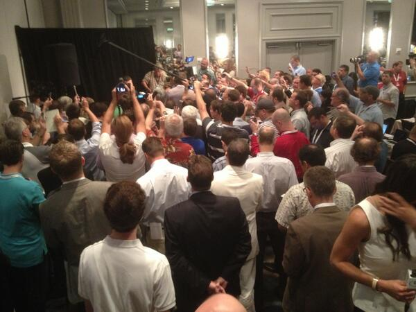 As you see Johnny Manziel on @ESPNU right now, this is what you DON'T see... #SECMediaDays http://pic.twitter.com/LlByB8eylH