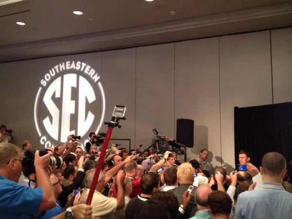 Speaking of the QB watch, Classic MVP @JManziel2 sure is drawing a lot of attention from media at #SECMediaDays. http://pic.twitter.com/wbDKYFpZrV