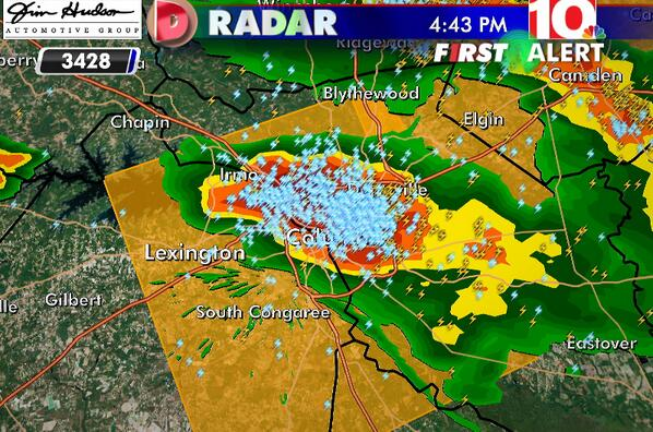 Severe Thunderstorm pushing through Columbia into Lexington Co. Take Cover! #scwx #caewx #wis10 pic.twitter.com/cEqzKunDpr