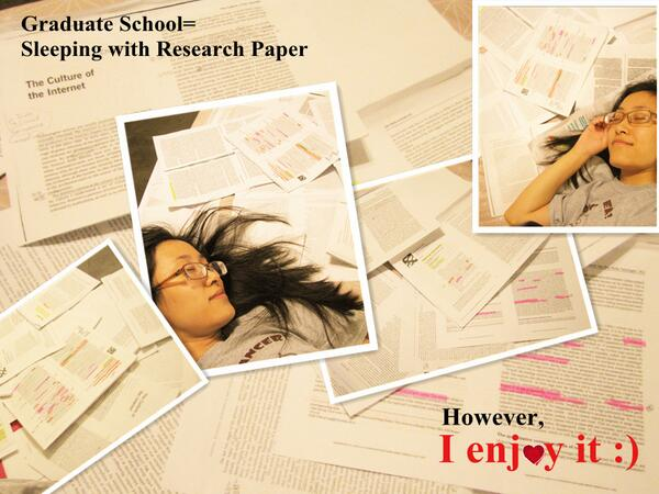 Graduate School equals sleeping with the research paper, but I enjoy it:)  #issuesnm pic.twitter.com/HaBJrCr1N9