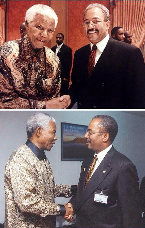 Happy 95th Birthday President Nelson Mandela.Two pictures decades apart ,which one taken in Africa ?America? pic.twitter.com/m7QrUBG0Lw