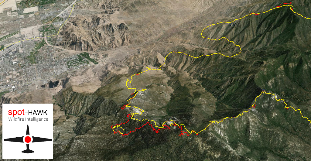 Rate of spread #MountainFire from @Spot_HAWK 2200PDT last night  to 0900PDT this am roughly 0.23-0.46 meters/min