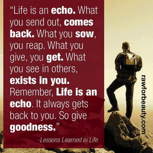 Beautiful EvergreenQuotes: Life Is An Echo. #quotes #quote Pic.twitter.com/HWbF9ol8xtu201d