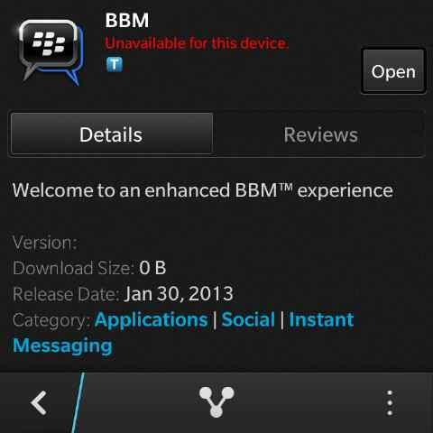 BBM not available for Q10