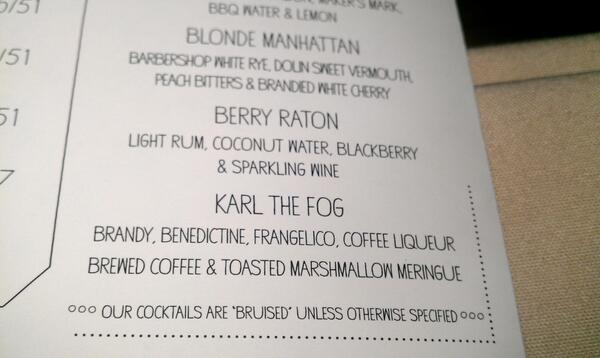 Hey @KarlTheFog, did you know you're now a fabu cocktail at @bluestemsf? http://t.co/hjX9xRWvkC