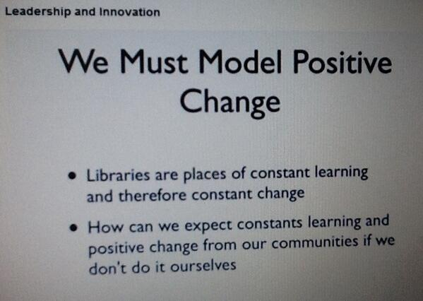 #Librarians change agents > it starts with us! #newlib #MOOC by @rdlankes > model pos change by constantly learning http://twitter.com/karentoittoit/status/359227213859659777/photo/1