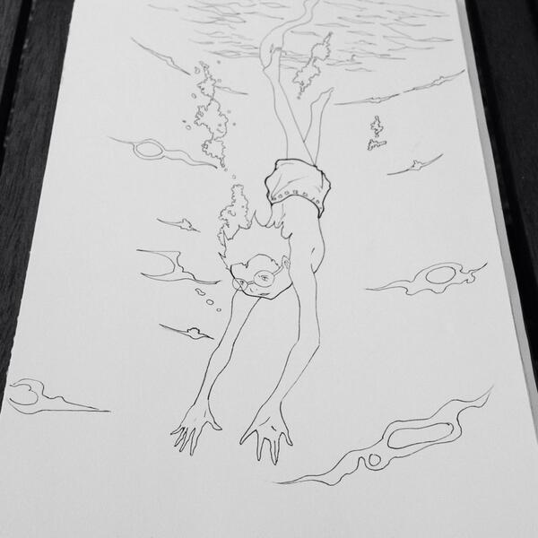 Person Swimming Underwater Drawing