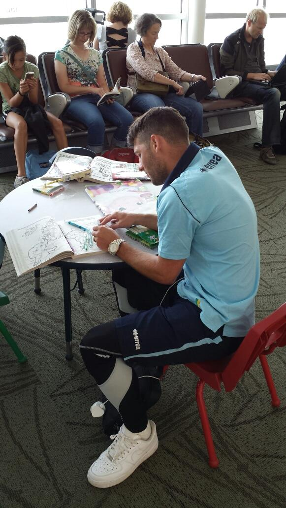 Norwichs Becchio takes an epic picture of Wes Hoolahan doing some colouring in at an airport