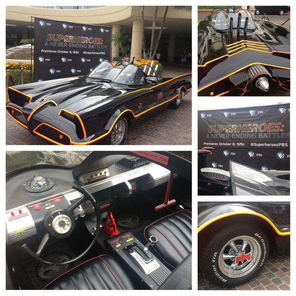The first day of PBS at the TV Critics Press Tour kicks off w/ 1 of the original Batmobiles. #TCAS13 #SuperheroesPBS pic.twitter.com/NCBCVVDJAD