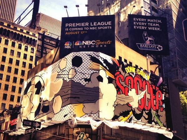 NBC replace their massive 40 foot poster of Tottenhams Gareth Bale in Times Square, New York