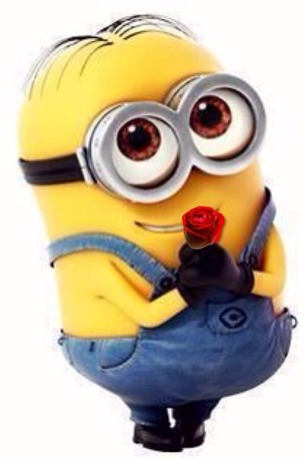 minion with roses