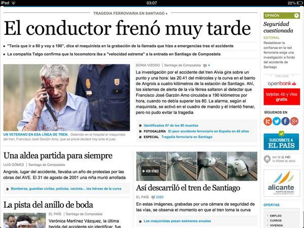 """EL PAÍS on Twitter: """"El supuesto error del maquinista del tren de la tragedia en Galicia, en #portada http://t.co/ZHk7a4oC7X http://t.co/Qx2STYkD0t"""""""