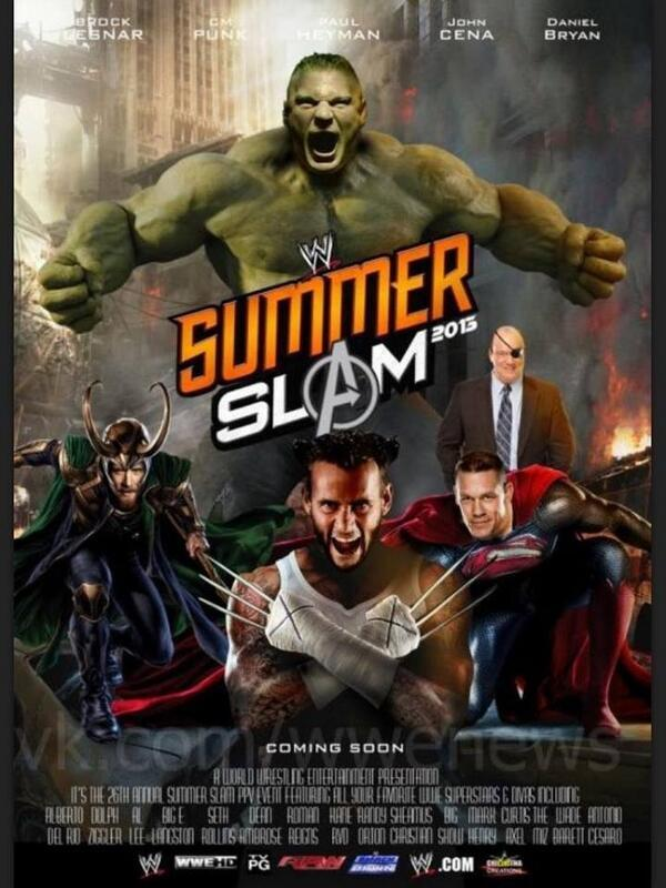 parody super heroes summerslam ppv poster sescoops