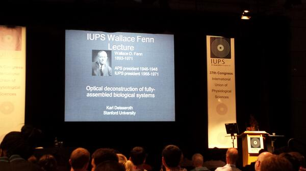 Last prize and keynote lecture - the Wallace Fenn lecture. Speaking is Karl Deisseroth #iups2013 @ThePhySoc pic.twitter.com/wQ1p34CNNl