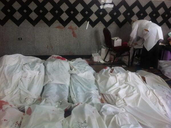 Counted 24 bodies, all shot in head or chest, at Rabaa's makeshift morgue. More being carried in. No words. pic.twitter.com/vF35Hui5vp