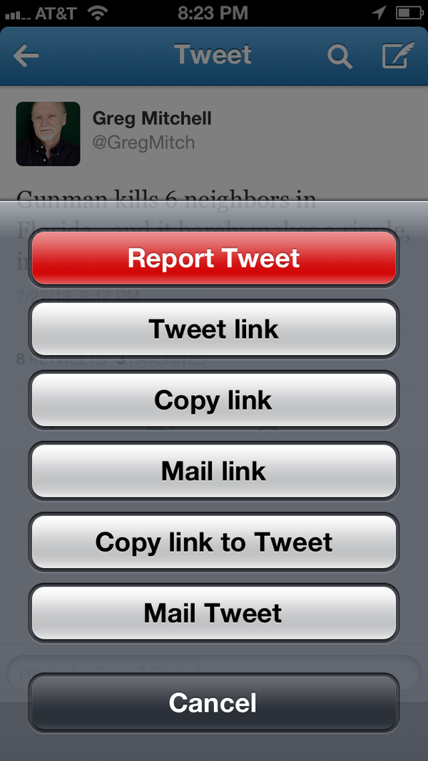"I don't use Twitter for iPhone so was unaware of ""report this tweet"" feature. Bravo. API for other clients? http://pic.twitter.com/s45chCEHVX"