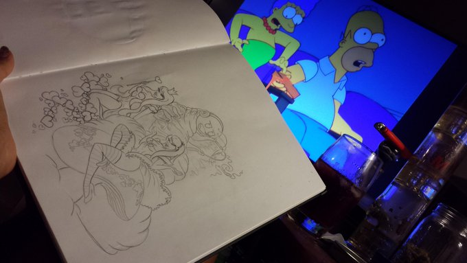 Afternoon Cartoons & doodlin a @EmazingLights Wonderland Catapillar & his mushroom eatin bitches! ;D