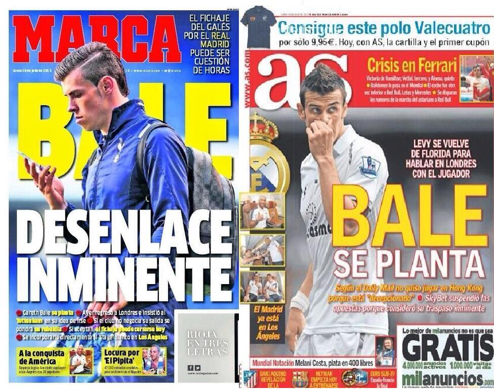 Marca & AS both claim Gareth Bales mega transfer to Real Madrid is just hours away