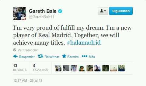 Fake Gareth Bale #halaMadrid Tweet starts doing the rounds
