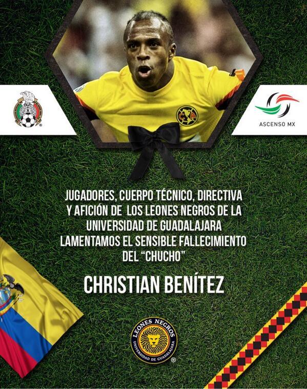 Nuestras condolencias a los familiares  del jugador Christian Benítez. @CF_America pic.twitter.com/3W2HwG3Aza
