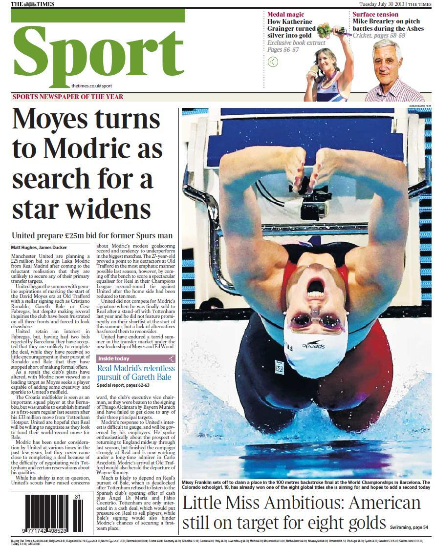 Manchester United turn to Real Madrids Luka Modric to fill central midfield gap [The Times]