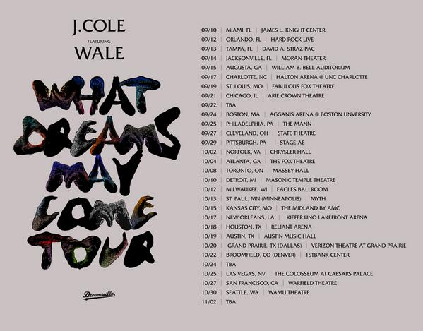 J. Cole and Wale tour dates