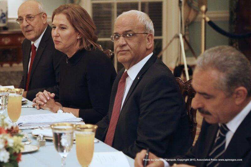 Israerli + Palestinian negotiators at Secretary Kerry Iftar Dinner
