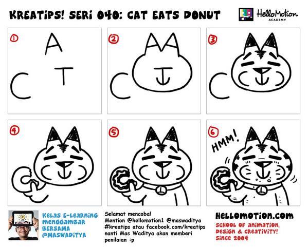 Hellomotion On Twitter Quot Cara Menggambar Kucing Makan